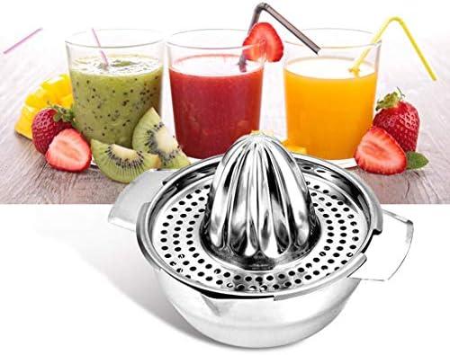 AXAA Exprimidor Manual de Frutas de Acero Inoxidable Exprimidor Manual de Tapa de rotación Escariador de Prensa con Cuenco y colador