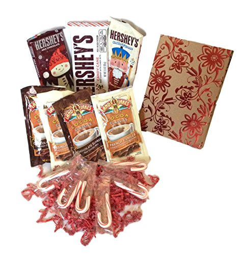 Holiday Set 14-Ct Hershey's Bars & Cocoa Red Swirl Care Package (Long Distance Care Package)