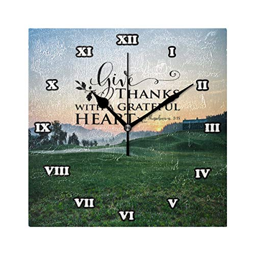 Bible Quotes Verses Give Thanks with A Grateful Heart Silent Non Ticking Wall Clock,Decorative Square 7.87