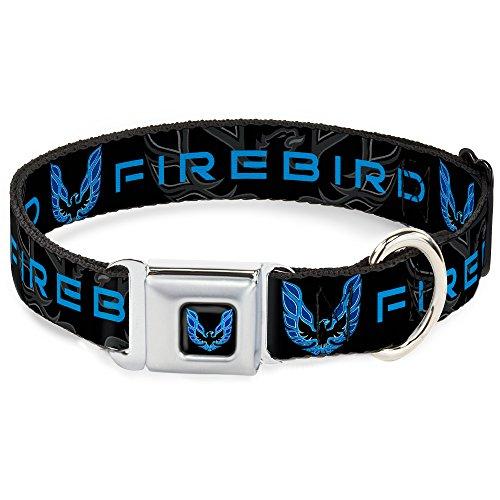 Dog Collar Seatbelt Buckle Pontiac Firebird Logo Black Grays Blues 15 to 26 Inches 1.0 Inch Wide