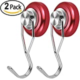 SoulBay 2pcs 50 Pounds Vertical Tension Heavy Duty Swivel Magnetic Hooks for Home, Refrigerator, Kitchen, Garden Shed, Workshop, Store, Office or Warehouse - [Red]