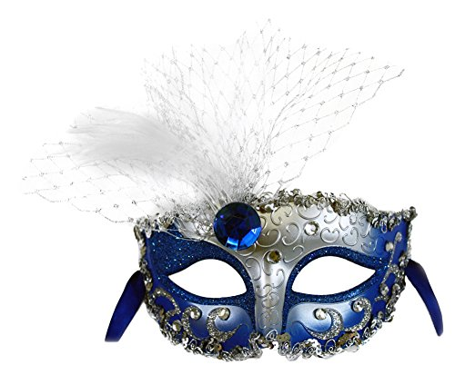 Decorated Mask - Elizabeth Blue-Silver Decorated Masquerade Mask for Women