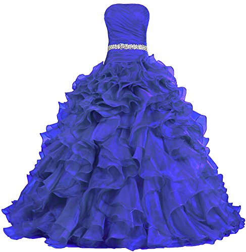 ANTS Womens Pretty Ball Gown Quinceanera Dress Ruffle Prom Dresses Size 26W US Royal Blue