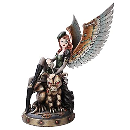 Steampunk Fairy With Guard Dog Statue