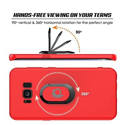 Galaxy S8 Case, Punkcase Magnetix Protective TPU Cover W/Kickstand, Ring Grip Holder & Metal Plate for Magnetic Car Phone Mount Plus PunkShield Screen Protector for Samsung S8 Edge [Red]