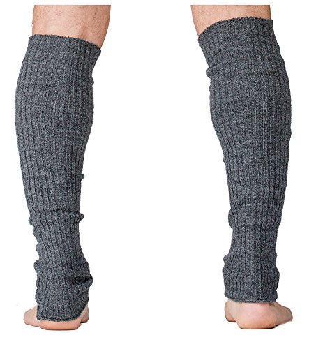 Acrylic Leg Warmers (Charcoal Men's Leg Warmers 16 Inch Dance Stretch Knit Ribbed KD dance New York Made In USA Dancewear Loungewear Diabetes)
