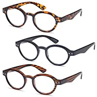 GAMMA RAY READERS 3 Pairs of The Teacher Round Unisex Spring Hinge Readers Fit for Men and Women Reading Glasses