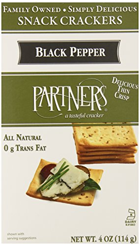 Natural Partners - Partners All Natural Crackers, Cracked Black Pepper, 4-Ounce Boxes (Pack of 6)