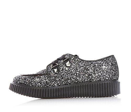 MISS GRANT - Silberner Schuh mit Glitzern, eleganter und faszinierender Stil, auf der Zunge ein Logo, kleine Ferse aus schwarzem Leder, schwarze Schnürsenkel, Mädchen, Damen