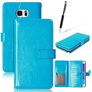 GrandEver Funda de PU Piel para Samsung Galaxy Note 5 Funda Libro Color Azul Con Flip Case Cover Función de Soporte el Iman del Cierre es Bastante Potente Billetera con Tapa para Tarjetas Paquete de la Tarjeta Múltiple Carcasa PU Samsung Galaxy Note 5 + Gratis Lapiz Tacil