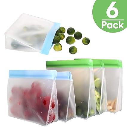 TYRY.HU Bolsas Reutilizables para Almacenamiento de Alimentos PEVA Ziplock 6 Piezas Bolsas de sándwich Congelador Extra Grueso Bolsa de Almuerzo ...