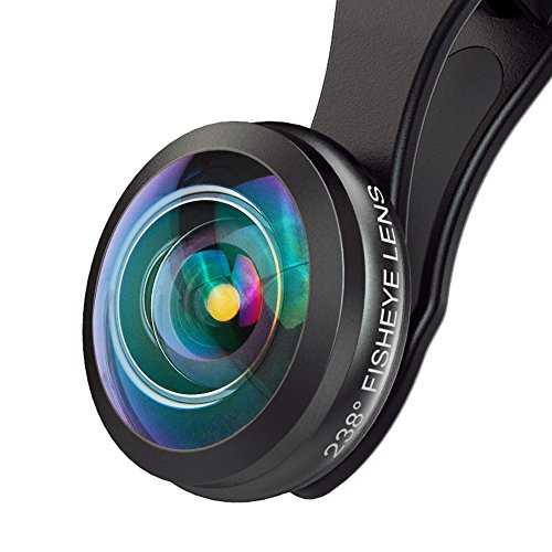 MIAO LAB Camera Lens HD Super Wide Angle Fisheye Lens 238 Degree Field of Super View Lens (No Dark Circle) for iPhone Samsung HTC and Most of Smartphones