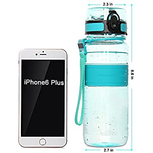 WATERFLY BPA FREE 24 oz / 650ml Sports Water Bottle Eco-Friendly Cycling Plastic Bottle Leak-proof Lid For Men Women Children Running Camping Traveling Gym Exercising Yoga (Green)
