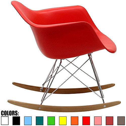 2xhome - Red - Eames Style Molded Modern Plastic Armchair - Contemporary Accent Retro Rocker Chrome Steel Eiffel Base - Ash Wood Rockers - Rocking Style Lounge Cradle Arm Chair - Wooden Retro Rocker
