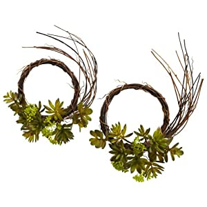 Nearly Natural 4957-S2 Mixed Succulent Wreaths, 9-Inch, Green, Set of 2 32