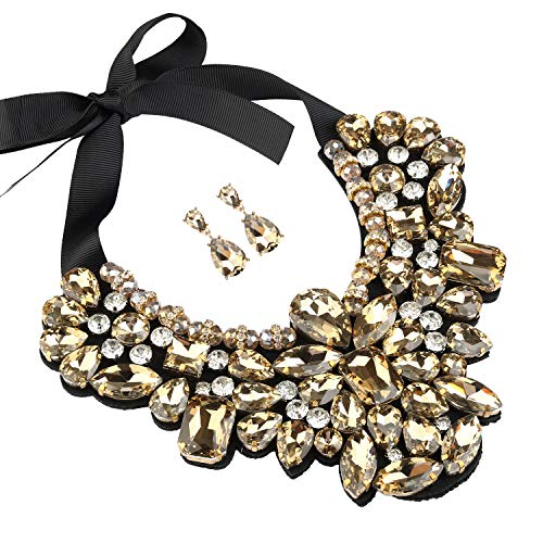 - Holylove Champagne Costume Statement Necklace with Earrings for Women Jewelry Fashion Necklace 1 Set with Gift Box-HLN8455E-Champagne