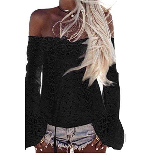 Denudee T Shirt Manches Blouse Vovotrade Dentelle Femme Longues Blouse Epaule en Noir Dtache 8RwqxwHt