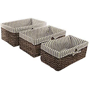 Brown Home Storage Nesting Basket / Fabric Lined Rattan Shelving Bins, Set  Of 3