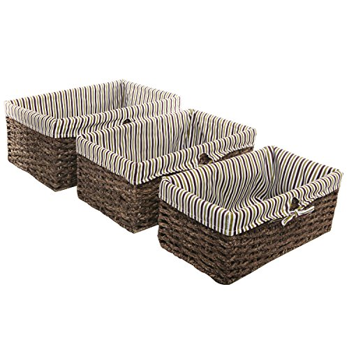Brown Home Storage Nesting Basket / Fabric Lined Rattan Shelving Bins, Set of 3 (Basket Rattan)
