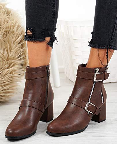 Foncé Femme Fashion Bottes Camel Motard Cucu wpg1qfO