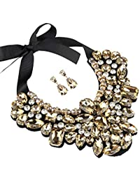 Champagne Costume Statement Necklace with Earrings for Women Jewelry Fashion Necklace 1 Set with Gift Box-HLN8455E-Champagne