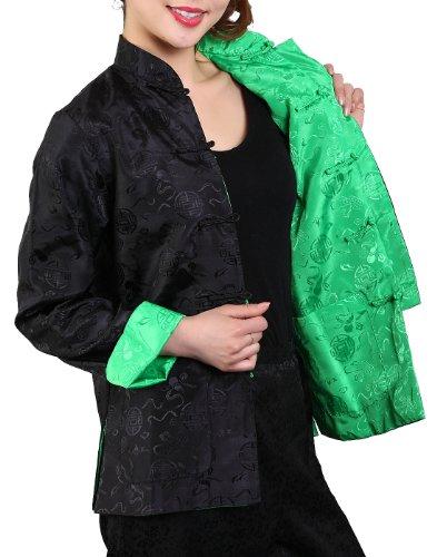 Bitablue Womens Auspicious Reversible Chinese Shirt (Black/Green,