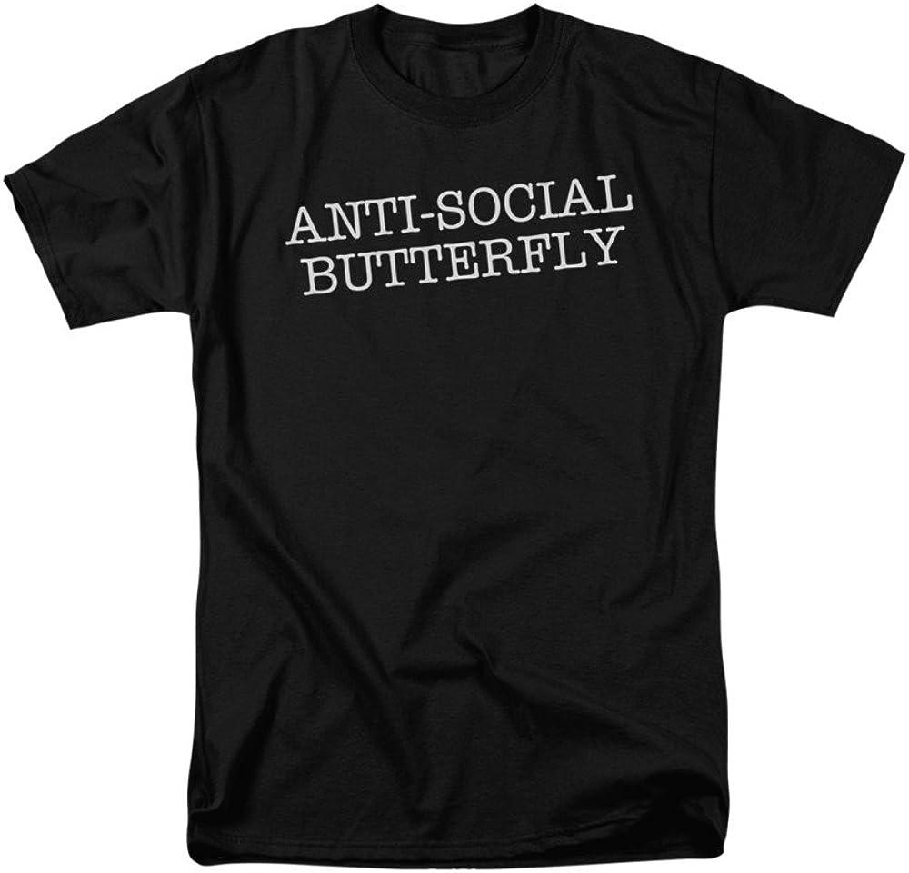 2Bhip Mariposa Antisocial Broma Divertida Camiseta para Hombre X-Grande Negro: Amazon.es: Ropa y accesorios