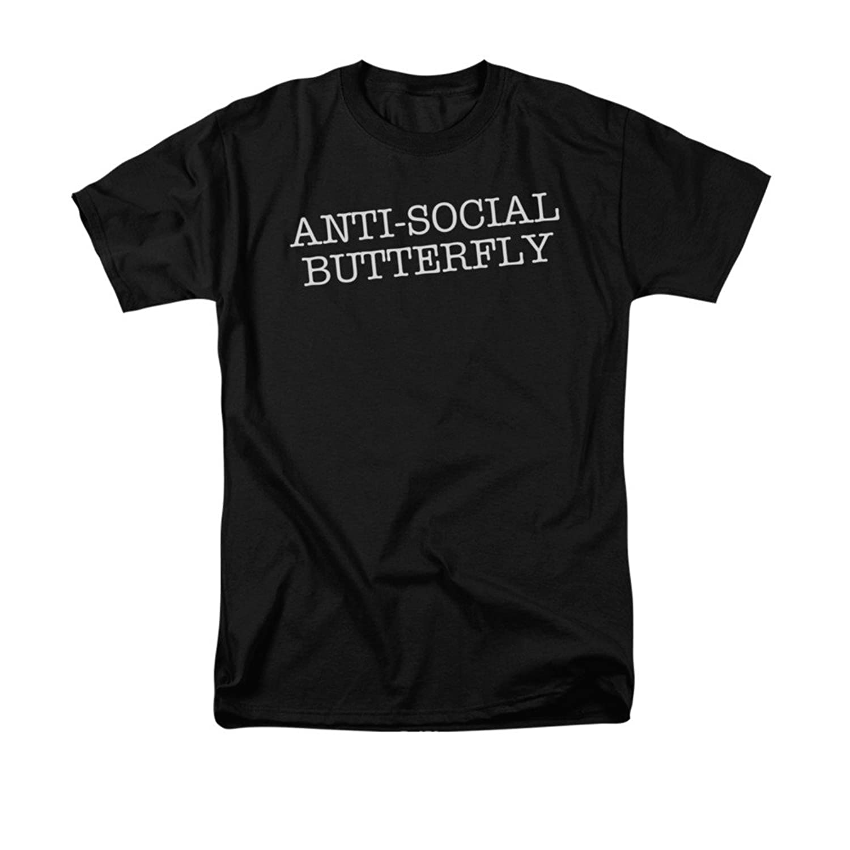 Anti-Social Butterfly Funny Joke Adult T-Shirt