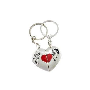 Amazon.com: Llavero plata corazón niño Niña amor grande ...