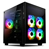 anidees AI-Crystal-CUBE-PM ATX Steel / Tempered Glass Cube PC Case Support E-ATX, 280/240 Radiator - Black (RGB Version)