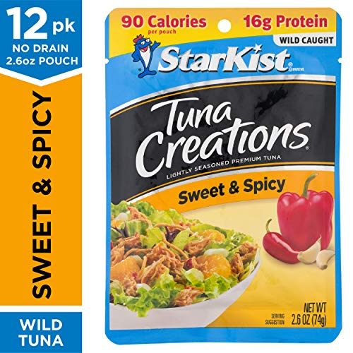 StarKist Tuna Creations, Sweet and Spicy, 2.6 oz. Pouch, Pack of 12 - On-the-Go Tuna Pouches, Wild Caught, Dolphin Safe Tuna - Gluten and Soy Free (Packaging May Vary)