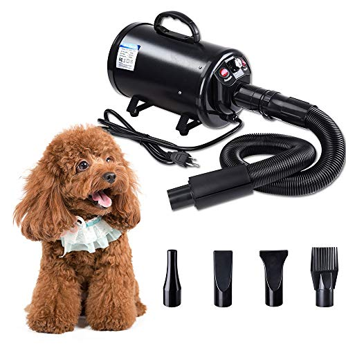 (Yescom 2400W 3.2HP Pet Dog Cat Grooming Hair Force Dryer Quick Blower Heater Electrodeless Speed 4 Nozzles Black)
