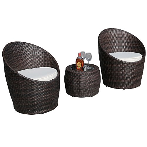 51xf0J52snL - PATIOROMA 3 PCS Outdoor Wicker Rattan Steel Folding Table and Chairs Bistro Set …