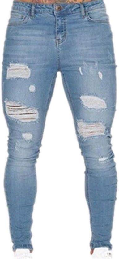 Huixin Jeans Rasgados De Los Hombres Stretch Jeans Super Moda Ajustados Jeans Luz Revelada De Los Hombres Pantalones Flacos Pantalones De Mezclilla Casual Color Negro Size 2xl Amazon Es Ropa Y