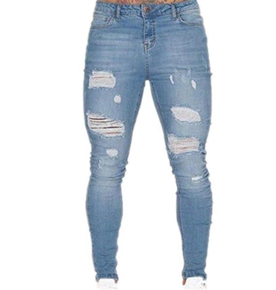dbb6c50a53 Battercake Pantalones para Hombres con Aberturas Elásticas para Hombres  Cher Skinny Biker Jeans Cómodo Destruyó Pantalones Ajustados para Hombre   Amazon.es  ...