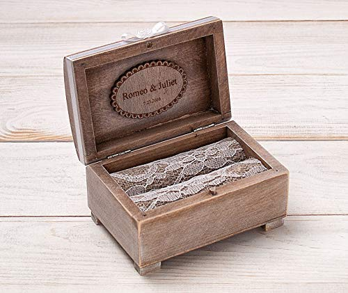 Lace Wedding Ring Box, Rustic Ring Bearer Pillow, Wooden Ring Box, Wedding Ring Holder, Wedding Keepsake Box, Jewelry Box, Matrimonial Box