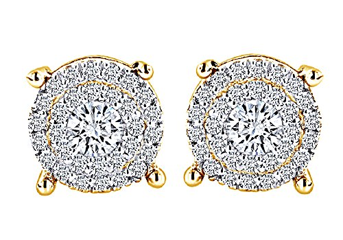 Round Cut White Natural Diamond Hip Hop Stud Earrings in 14K Solid Yellow Gold (0.60 Cttw) by Wishrocks