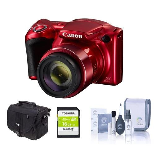 - Canon Red PowerShot SX420 IS Digital Camera w/ 16GB SD and Camera Bag 1069C001