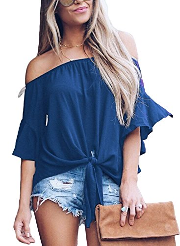 Knot Back Top - Women's Striped Off The Shoulder Bell Sleeve Tops Shirt Tie Knot Chiffon Casual Blouses (XL, Solid Navy)