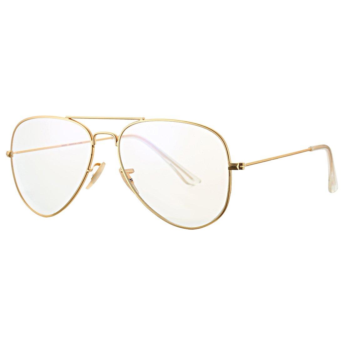 c93410c3e64 Amazon.com  COASION Classic Non prescription Aviator Glasses Clear Lens  Metal Frame Eyewear for Men Women (58mm