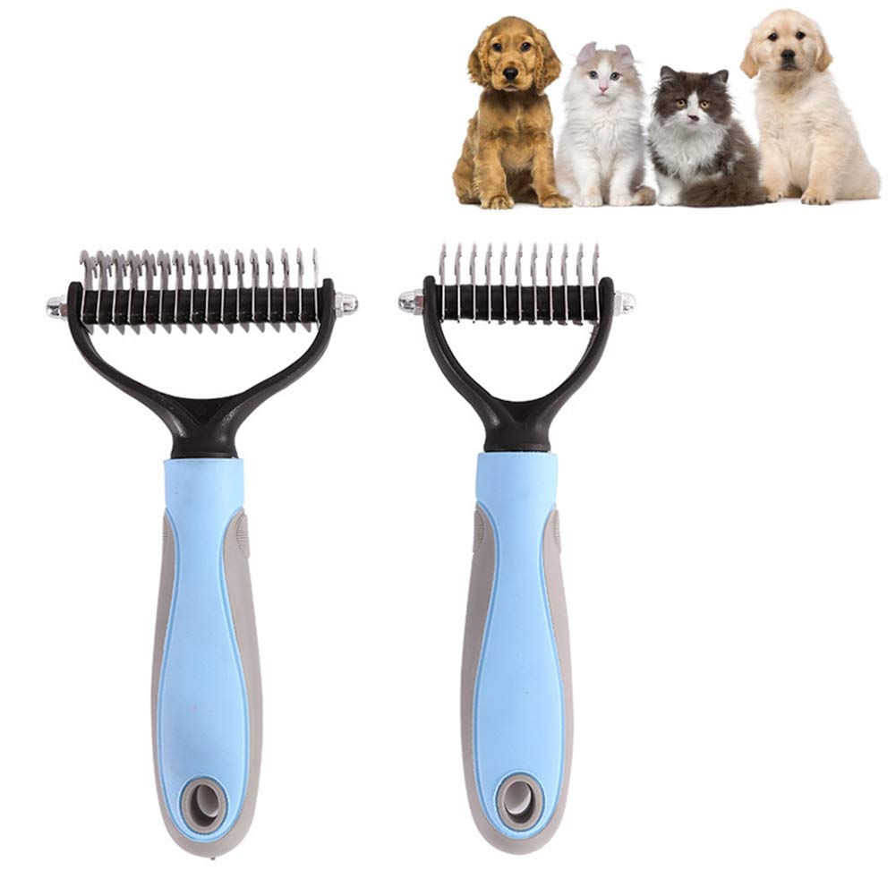 JIGAN Dog Brush & Cat Brush, Pet Dog Open Knot Brush Comb Massage, Double Sides Cleaning Comb, for Dogs Cats Pet Hair Grooming Trimmer 2Pcs