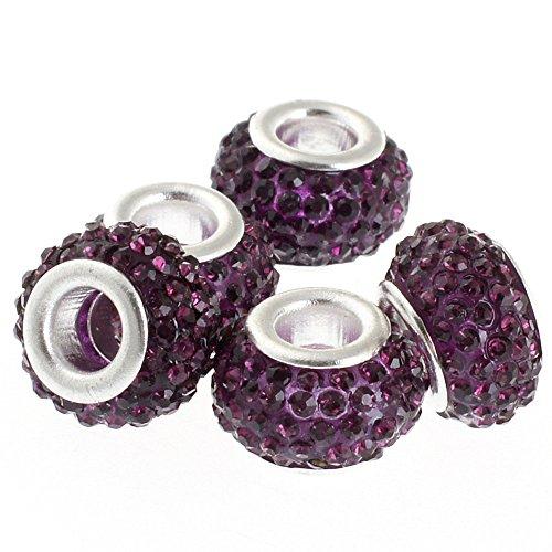 RUBYCA Big Hole Handmade Czech Crystal Slide Beads fit European Charm Bracelet (5pcs, Purple, 11mm) - Purple Sliders Pendant