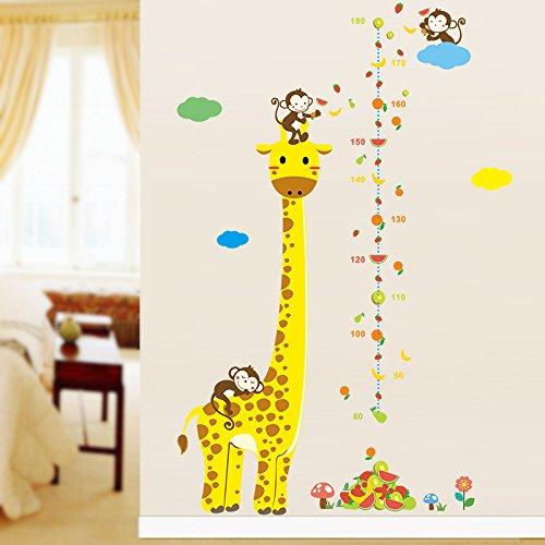 Ayutthaya Shop Cartoon animal giraffe monkey height measure wall sticker children room height chart ruler wall d Ecals nursery decorating room by AYUTTHAYA SHOP