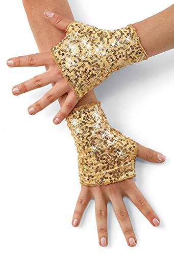 Balera Costume Fingerless Gloves Sequin Spandex Gold LCA ()