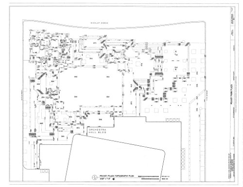 Historic Pictoric Structural Drawing Topography Plan - Peavey Park Plaza, 1111 Nicolet Mall, Minneapolis, Hennepin County, MN 60in x ()