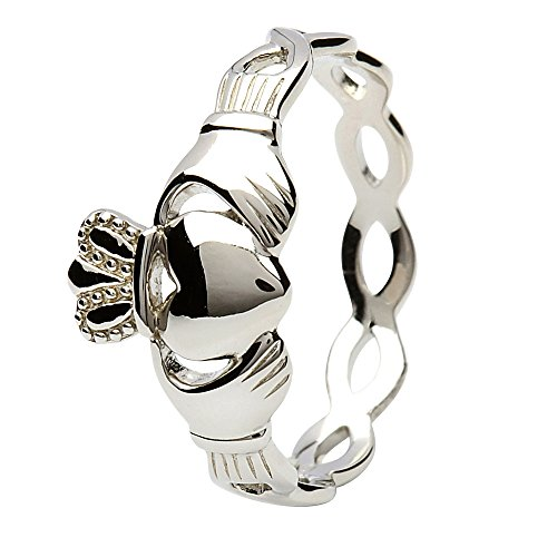 UCTUK Women's Sterling Silver Claddagh Ring with Infinity Band (9) - Ladies Rings Claddagh Ring