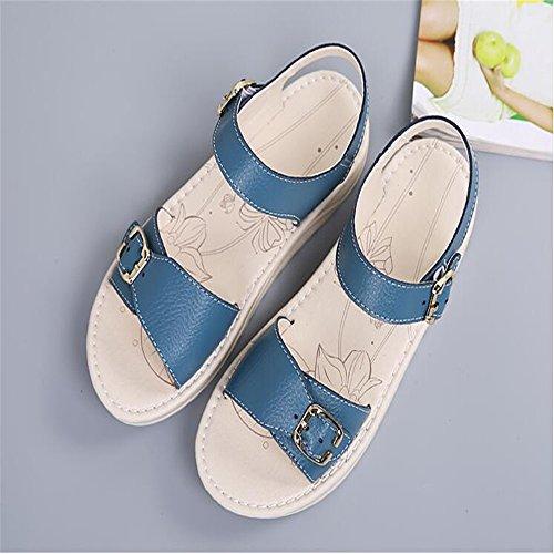 Solstice suave mujeres embarazadas sandalias planas sandalias zapatos  cómodos deslizamiento plana Blue ... be920c51b5729