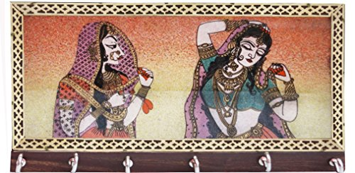Key Hook Made with Gem Stobe Painting of Pair of Lady, Elegant Indian Made Key Hook for Home (Holder Key Indian)