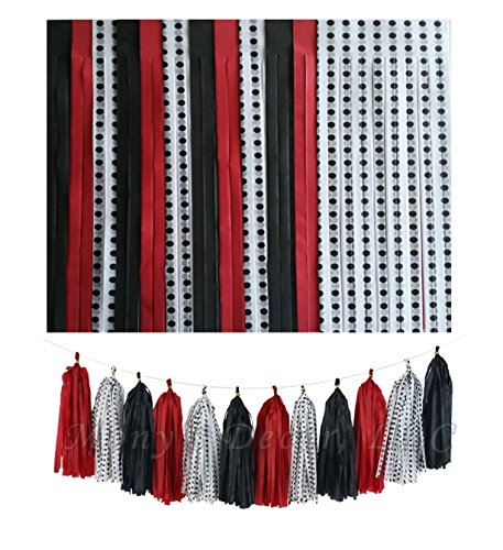 Tassels in RED Black and White with Black Polka DOT Design ()
