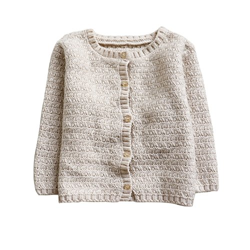 Baby Boy Cable Knit Sweater - Baywell Baby Girl's Knit Cardigan, Girls' Spring Fall Casual Jacket 0-3T (XS/0-6M/70, Creamy White)